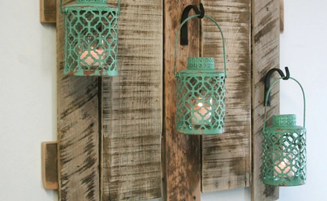 Pallet Wall Decor With Antique Turquoise Metal Lanterns