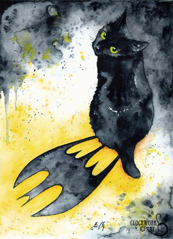 Bat Cat Fine Art Watercolour Black Cat Batman Print