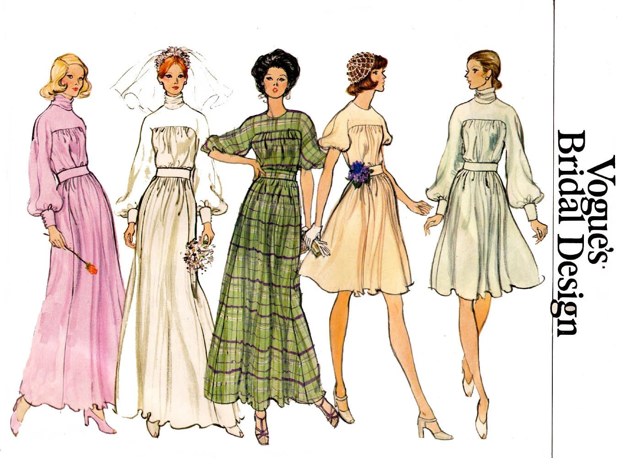 70s High Cowl Neck Wedding Dress Pattern Vogue Bridal