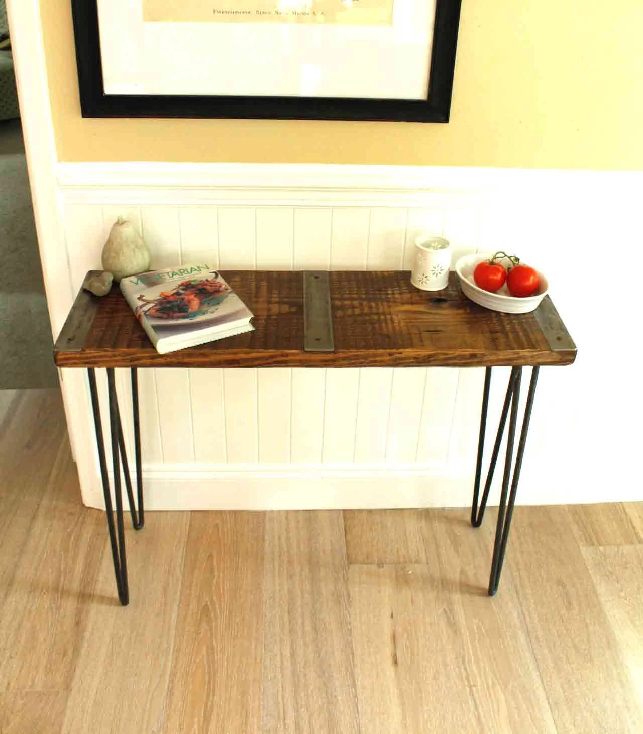 wooden sofa table legs sofas firm cushions metal inlayed reclaimed wood with hairpin