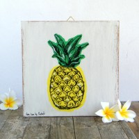 Pineapple print on wood Hipster room decor by Rachelsfinelines