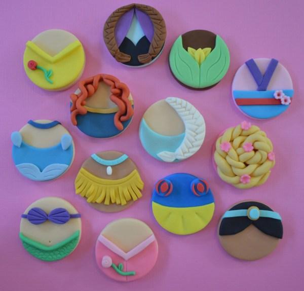 Disney Princess Cupcake Toppers-fondant