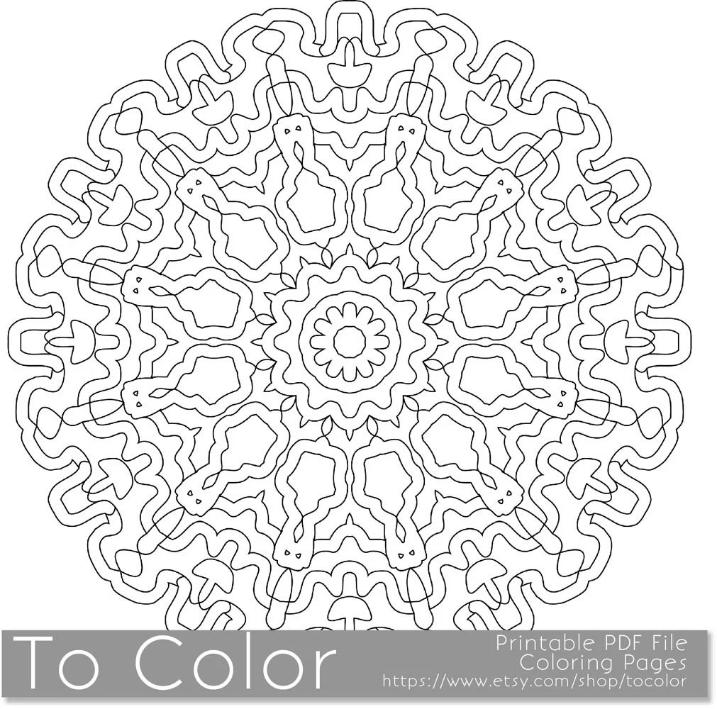 Printable Coloring Pages for Adults Mandala Pattern PDF by