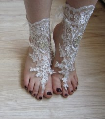 Silver Lace Barefoot Sandals Anklet Beach Wedding