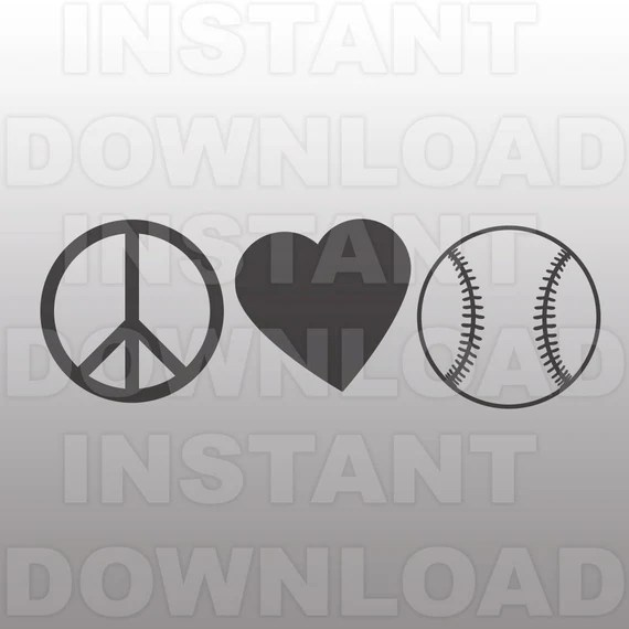 Download Peace Love Baseball SVG File Baseball SVG File Commercial