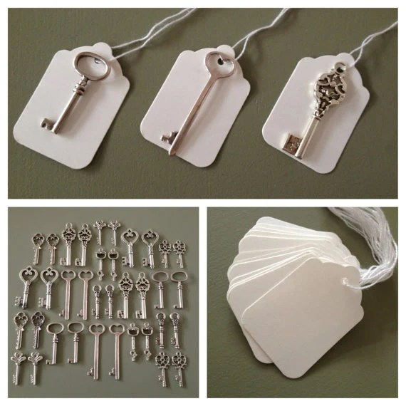 Skeleton Key Wedding Favors 100 Silver Skeleton Keys  100