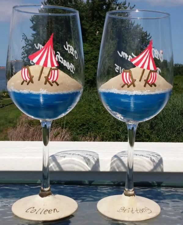 Beach Scene Hand Painted Wine Glasses