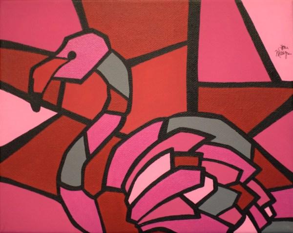 Pink Flamingo Print 8x10 Cubism Art Lustre