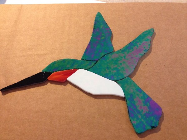 Precut Stained Glass Mosaic Hummingbird Ruby Throated Inlays