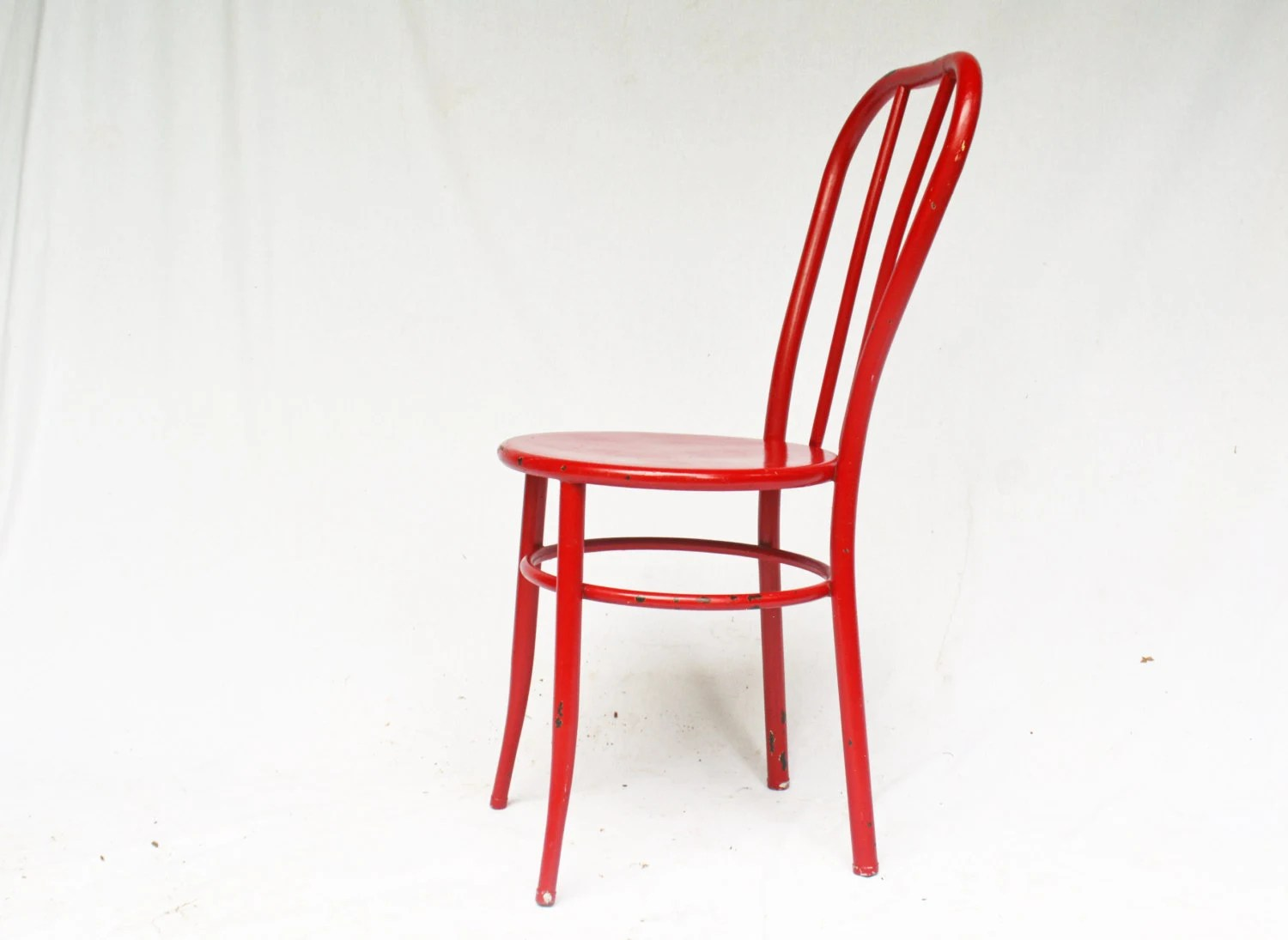 ice cream parlor chairs rocking for nursing cherry red metal chair vintage by