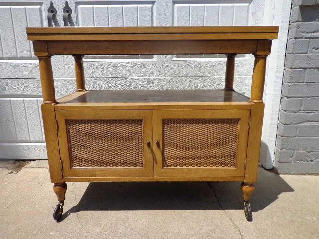 Vintage Bar Tea Cart Buffet Server Console Cabinet Storage