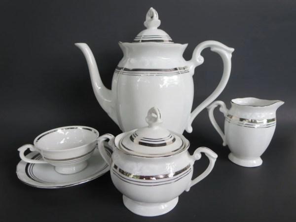 Porcelain Tea Set Fine Silver White Teaset