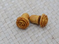 Small Yellow Rose Earring Fake Gauge Earrings Wooden
