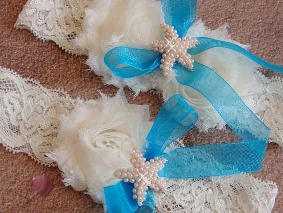 Something Blue Beach Wedding Garter Caribean By Bridalambrosia