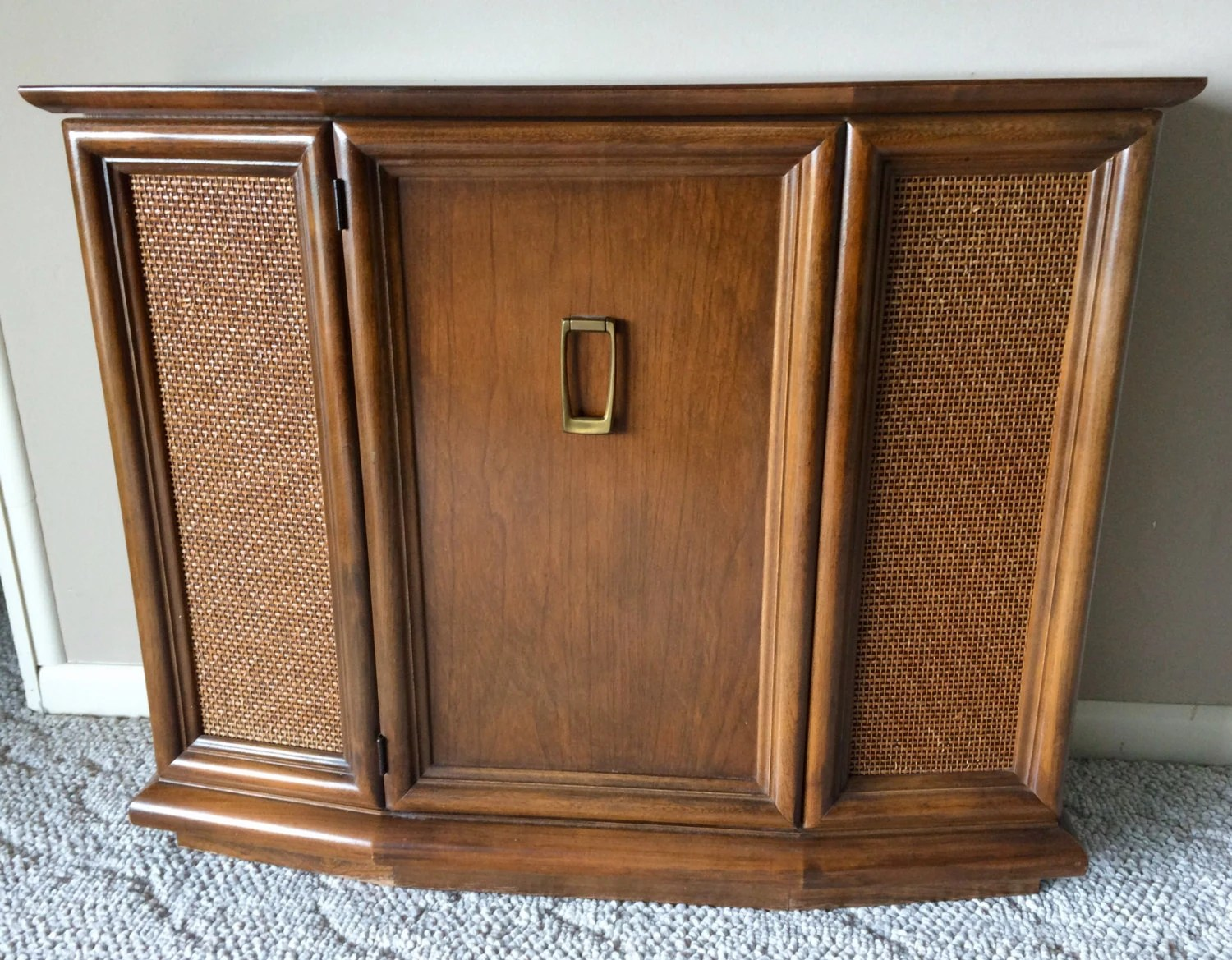Front Foyer Console : Mid century small entryway console cabinet with cane front