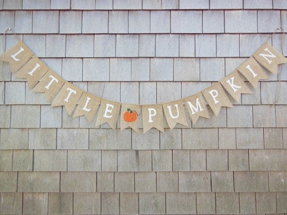 Little Pumpkin Banner, Little Pumpkin Baby Shower Decor, Burlap Garland, Pumpkin Shower Decor, Rustic Shower, Little Pumpkin Garland Sign