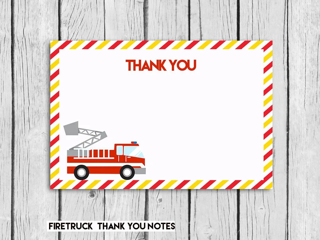 Firefighter Thank You Card 4x6 Fire Truck Instant DOWNLOAD