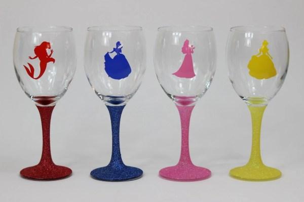 Disney Princess Silhouette Glitter Wine Glass Glitzandchic