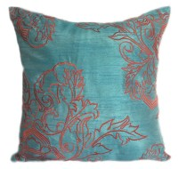Orange Blue Pillow 18x18 Tangerine Blue by TheWhitePetalsDecor