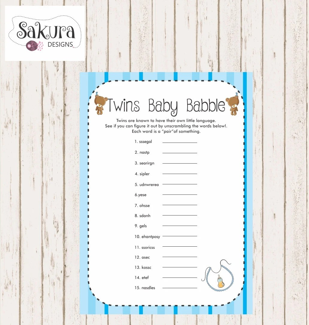 Baby Shower Game Blue Baby Shower Game Printable Baby Shower