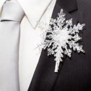 winter wedding boutonniere crystal