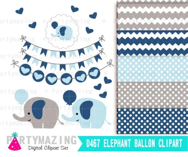 baby blue elephant with balloon
