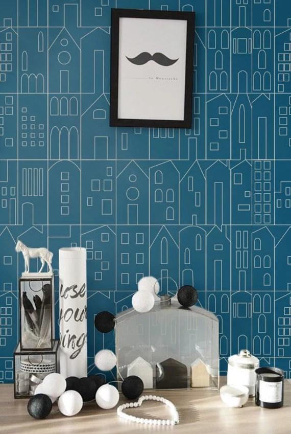 Auto adhésif wallpaper, peau et bâton - modèle de maison - été Z001