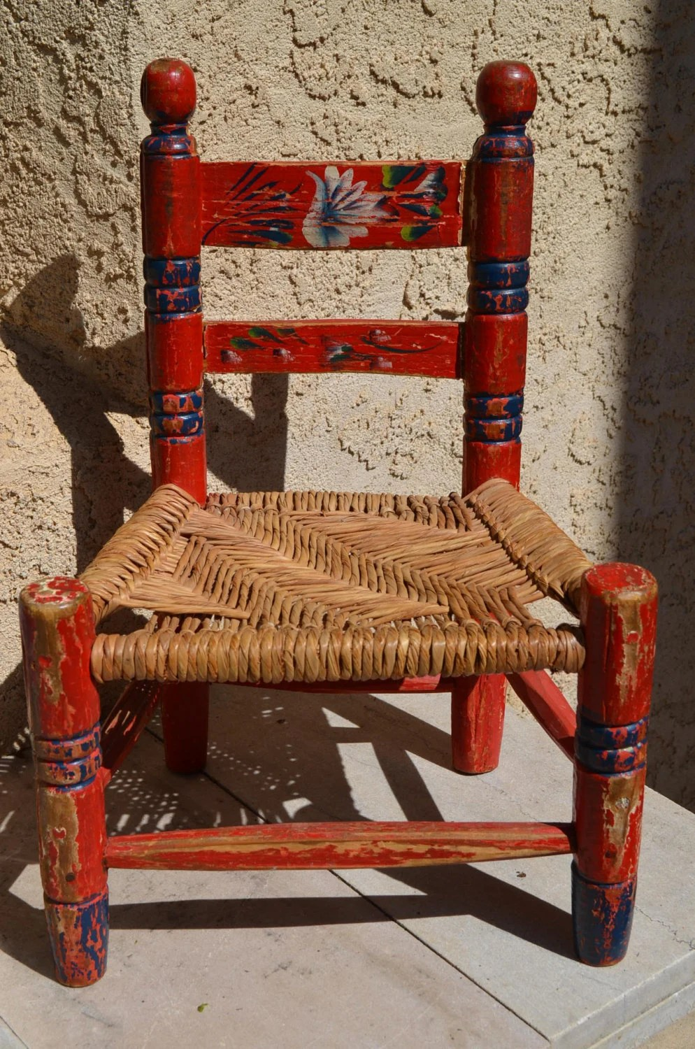Vintage HandPainted Red Mexican Childs Chair Wood Frame