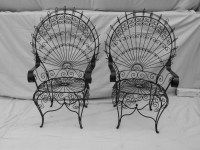 Vintage Peacock Chairs Twisted Metal Garden by VforVintageInc