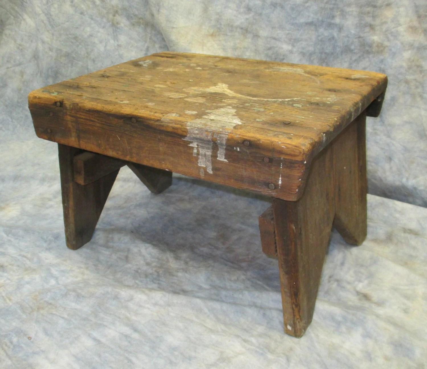 Primitive Step Stool Stand Wash Bench Wooden Childs
