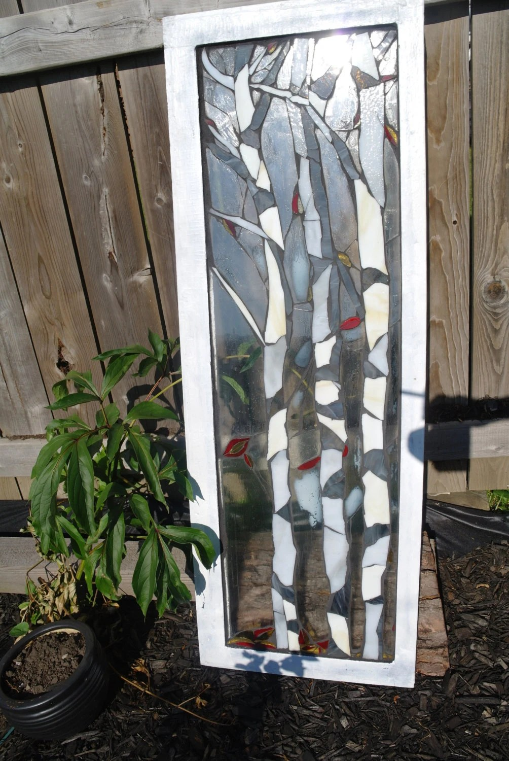 Stained glass birch tree mosaic SOLD