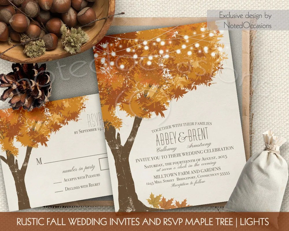 Rustic Fall Wedding Invitations Kit Autumn Oak by NotedOccasions