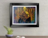 Calm In The Universe Signed Art Print by Rafi Perez interior design element Red