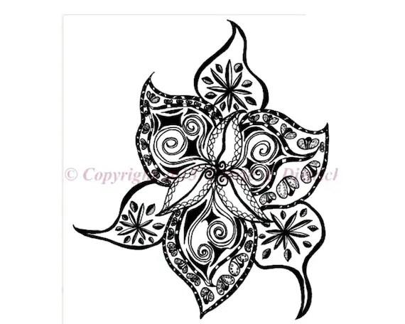 Black and White Art Pen and Ink Flower Design Illustration