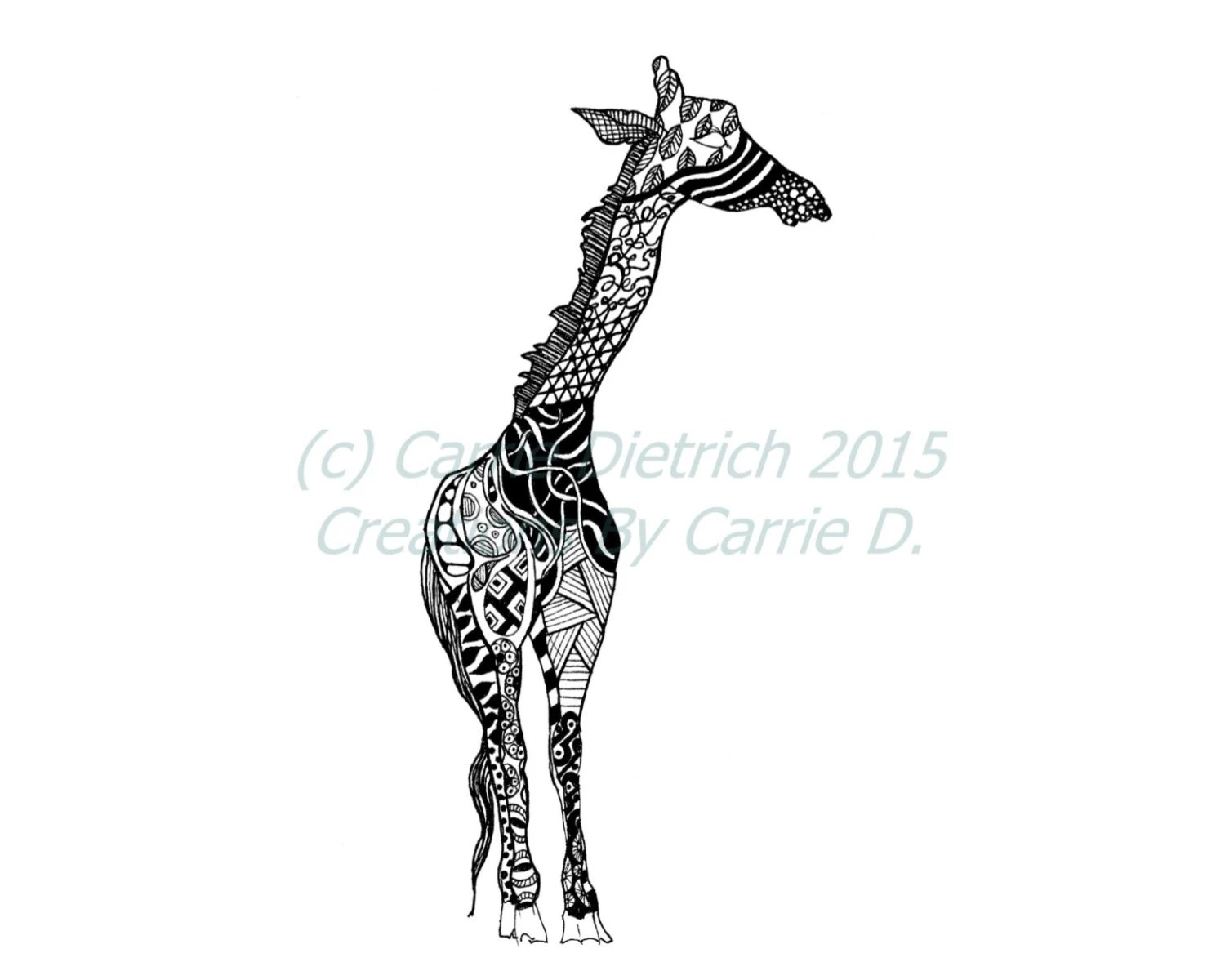 Giraffe Art Giraffe Drawing Pen and Ink Giraffe Black and