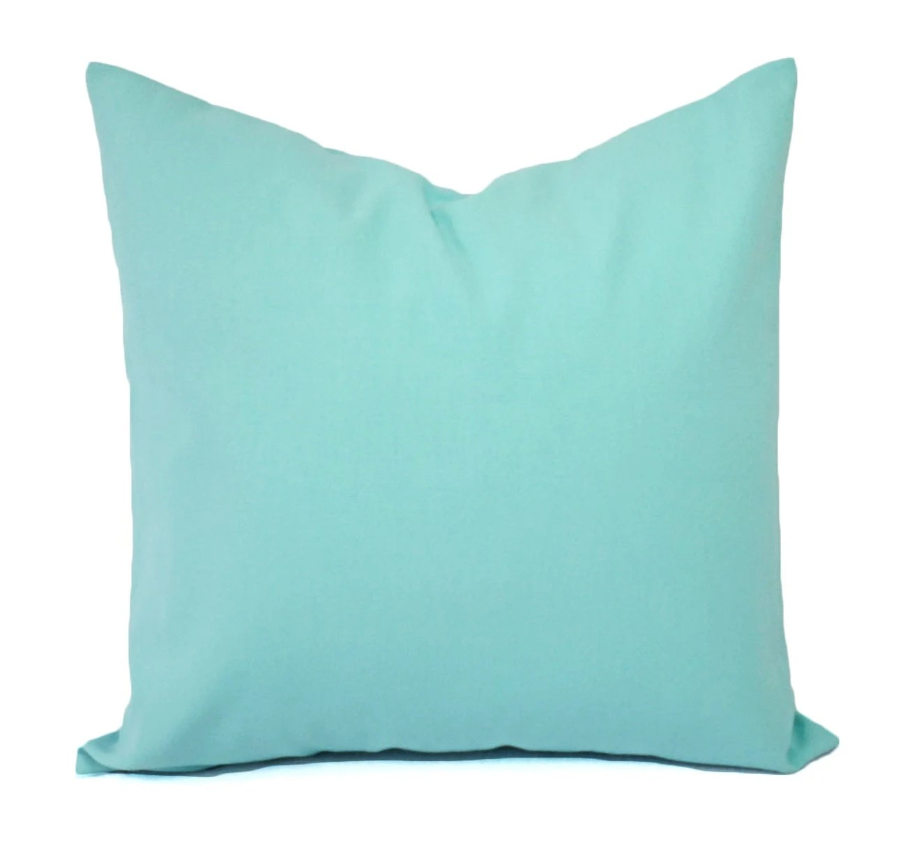 Two Aqua Pillow Covers Solid Teal Throw Pillows Aqua Couch