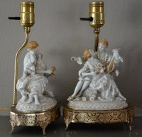 French Figurine Lamps Vintage French Lamps Porcelain Lamps