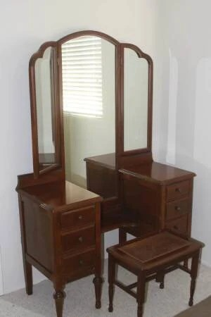 Vanity Dresser with Long Trifold Mirror Antique Victorian