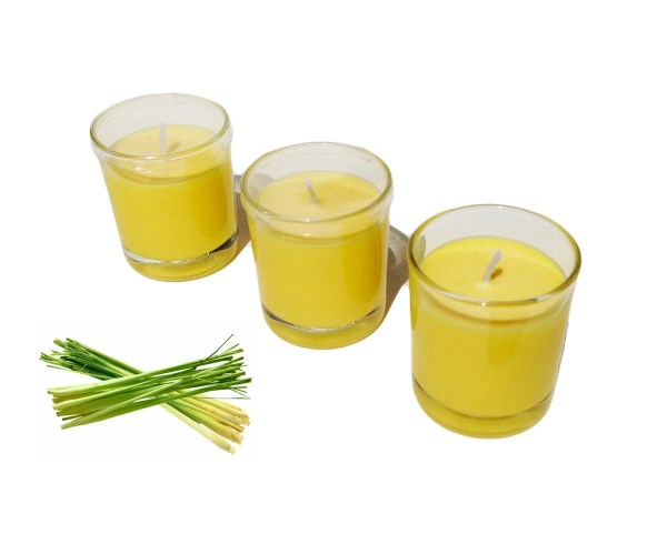 Citronella Scented Votive Glass Candle With Lid Pack Of 3