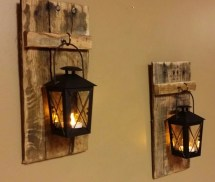 Rustic Wood Candle Holder With Lantern 12 X 5