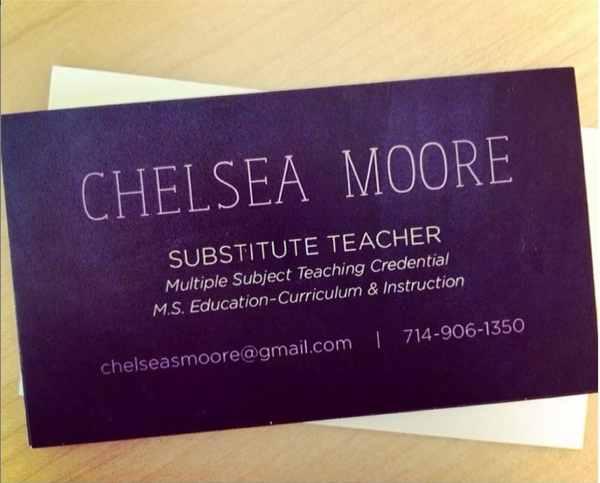 Teacher Substitute Tutor Chalkboard Business Card