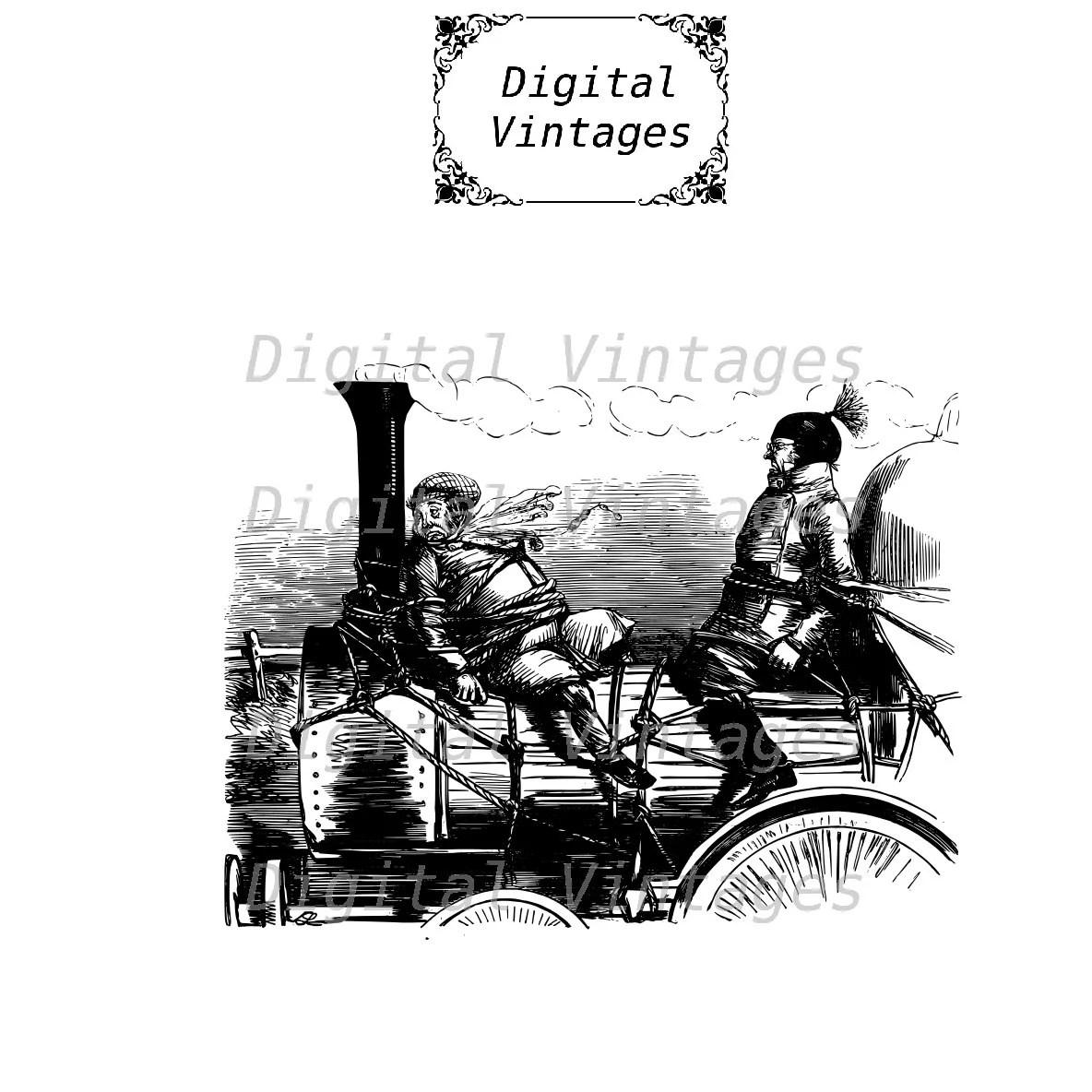 Steam Train Robbery Conductor Classic Illustration Vintage