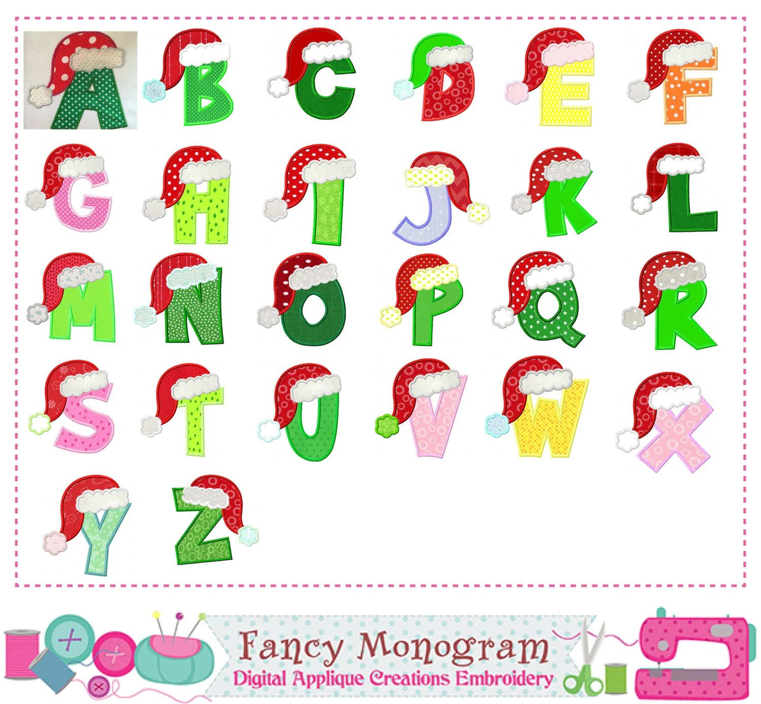 Christmas Letters Appliquesanta Claus Monograms
