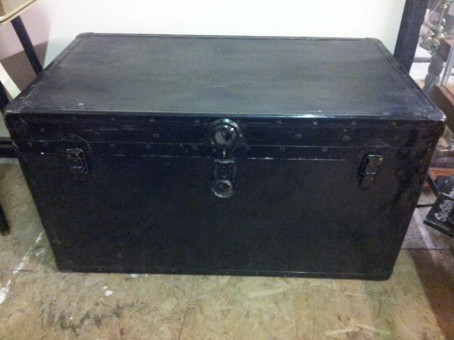 Vintage Large Wood And Metal Storage Trunk Coffee Table Industrial Trunk Industrial Storage