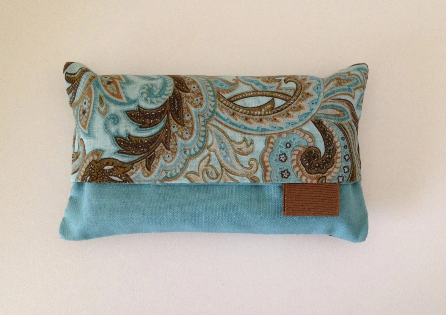 Tissue Holder Teal Brown Kleenex Holder Ready To Ship