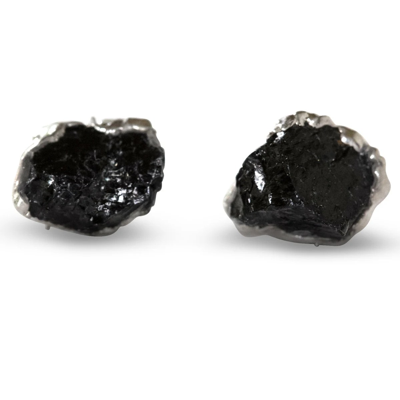 tourmaline earrings / black tourmaline / mineral earrings