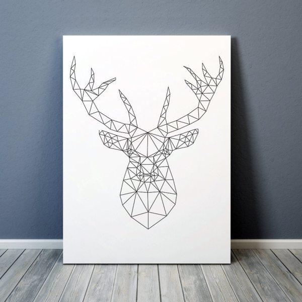 Minimal Decor Geometric Deer Print Animal Poster Line Art