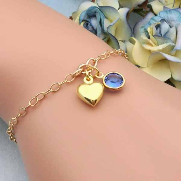 Gold Heart Bracelet Personalized Bracelet Gold Bracelet