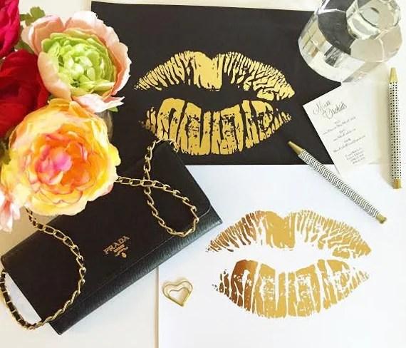 Real Gold Foil Print Gold Lips Art 8X10 Wall Art Makeup