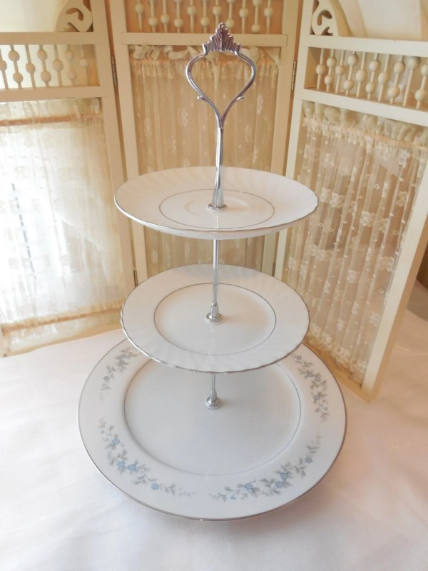 3 Tier Blue And Silver Cake Stand White
